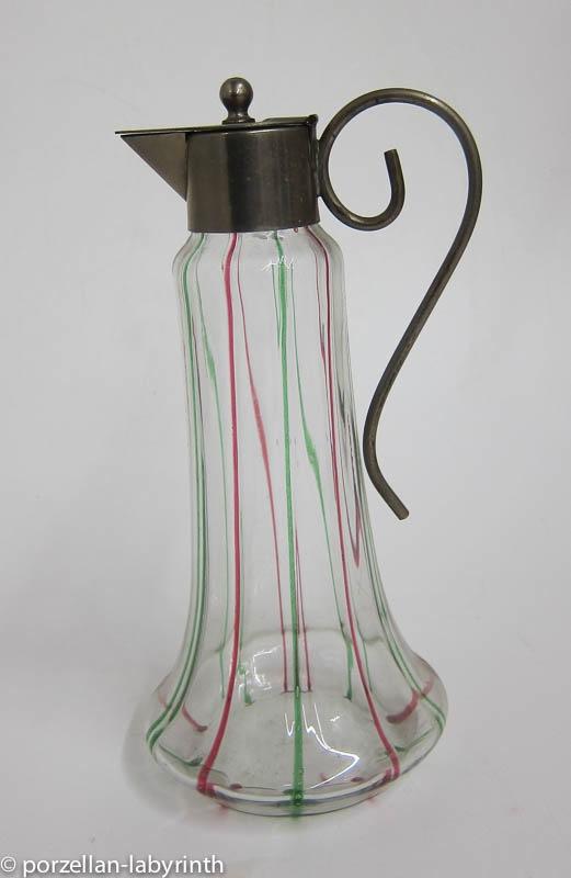 glas krug karaffe mit metall deckel jugendstil glasf den rot gr n 1 ebay. Black Bedroom Furniture Sets. Home Design Ideas