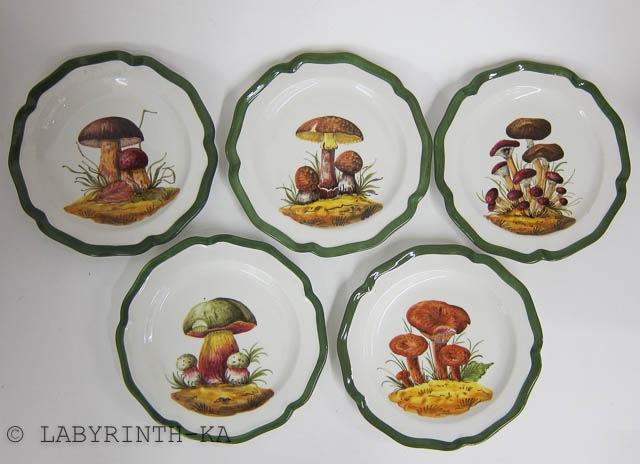 5 Teller Pilz Motive Keramik Italy costa BASSANO  eBay ~ Geschirr Italien